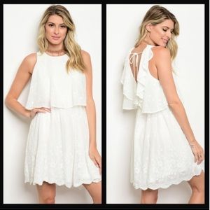 White Ruffled Two Tier Embroidered Dress size S